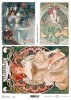 Papier do decoupage A4 ITD Soft 092 A. Mucha x1